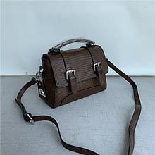 Сумка чемоданчик застежка ремень спереди / натуральная кожа #962 Коричневый