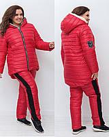 Женский зимний теплый спортивный костюм плащевка на силиконе красный черный 50 52 54 56, фото 1
