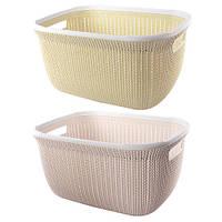 Корзина - плетенка для белья R85476 пластик, 43*31*21см, белый, Корзины бельевые, Пластиковые корзины для вещей
