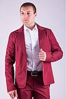 Стильный пиджак мужской на одну пуговицу бордовый