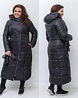 Женская зимняя теплая длинная куртка плащевка на силиконе черная 48 50 52 54, фото 1