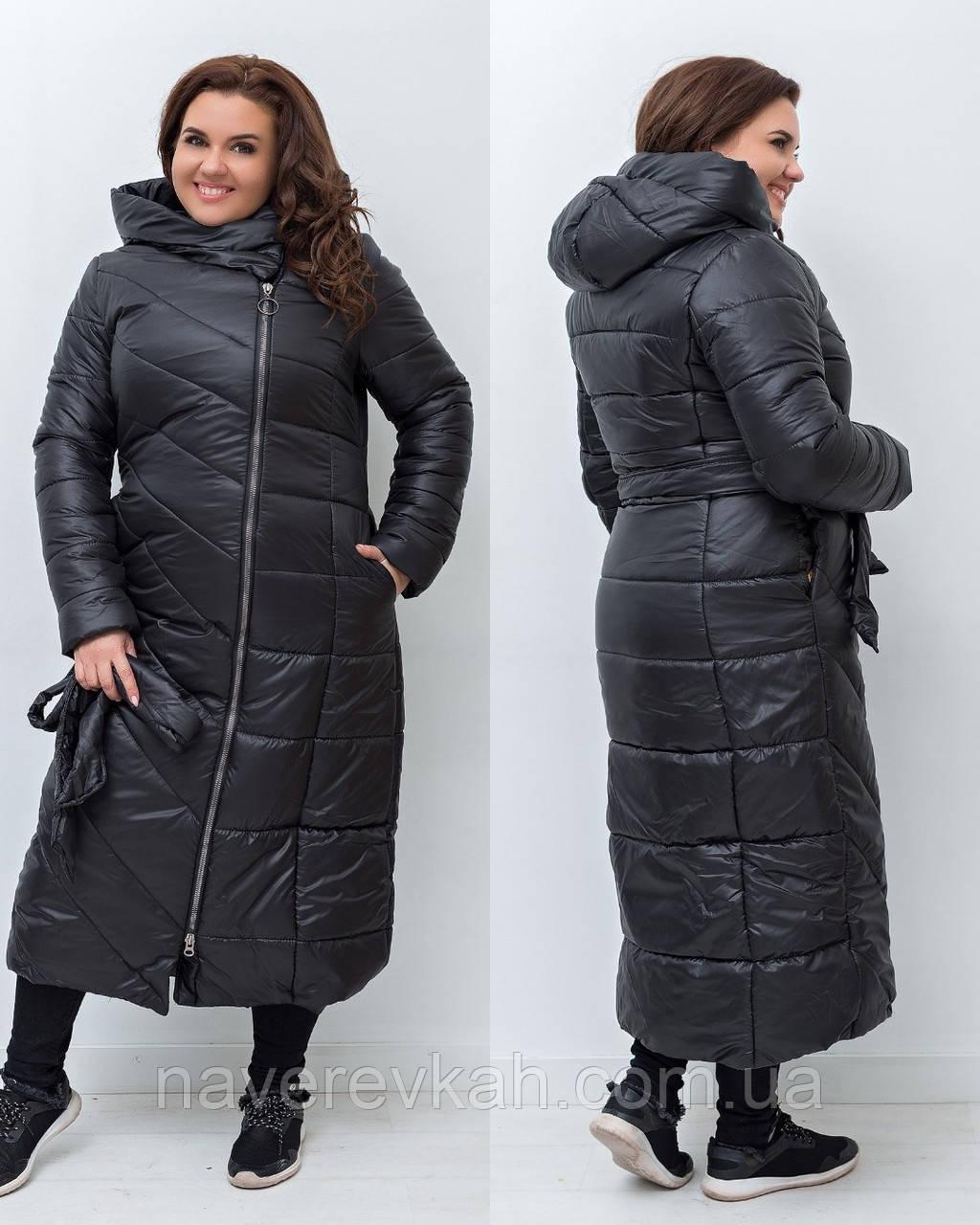 Женская зимняя теплая длинная куртка плащевка на силиконе черная 48 50 52 54