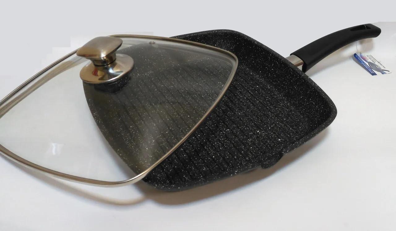 Сковорода - гриль со стеклянной крышкой 28 см Bohmann BH 1002-28MRB