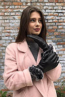Женские кожаные перчатки с мехом 8.5 р Черные 356.8.5, КОД: 189293