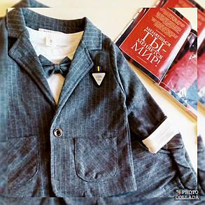 Ошатний костюм трійка на хлопчика джентельмен сірий 1-4 роки, фото 2
