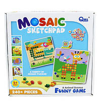 Детская мозаика Qml M7E трафарет животные 240 деталей Разноцветный, КОД: 1319450