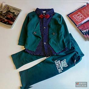 Нарядный костюм двойка для мальчиков зеленый в горошек 1-2 года, фото 2