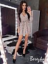 Платье из гофрированной сетки в горошек с верхом на запах и расклешенной юбкой 66py670E, фото 2