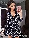 Платье из гофрированной сетки в горошек с верхом на запах и расклешенной юбкой 66py670E, фото 3