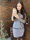 Платье по фигуре из сетки с блестками и отделкой из перьев 58py674, фото 3