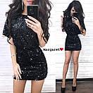 Короткое платье из пайетки на подкладе с коротким рукавом и вырезом на спине 9py680, фото 3