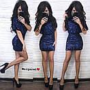 Короткое платье из пайетки на подкладе с коротким рукавом и вырезом на спине 9py680, фото 4