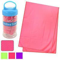 Полотенце для спорта R22771 охлаждающее, размер 30*88см, цвета ассорти, в тубе с карабином, полиэстер,полотенца для спорта, полотенце
