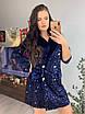 Платье - пиджак из пайетки на бархате с длинным рукавом 58ty676, фото 3
