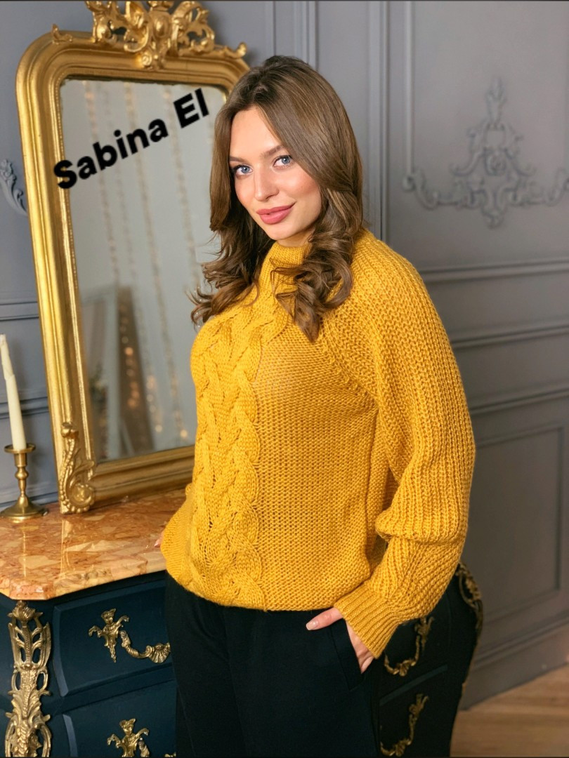 Женский вязаный свитер с шерстью и люрексом, узоры на кофте 7ddet780