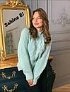 Женский вязаный свитер с шерстью и люрексом, узоры на кофте 7ddet780, фото 2