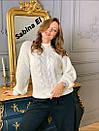 Женский вязаный свитер с шерстью и люрексом, узоры на кофте 7ddet780, фото 3