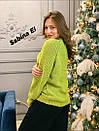 Женский вязаный свитер с шерстью и люрексом, узоры на кофте 7ddet780, фото 4