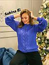 Женский вязаный свитер с шерстью и люрексом, узоры на кофте 7ddet780, фото 5