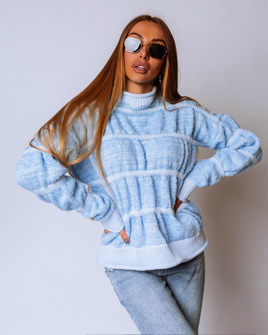 Вязаный женский свитер букле яркий и теплый 18ddet781