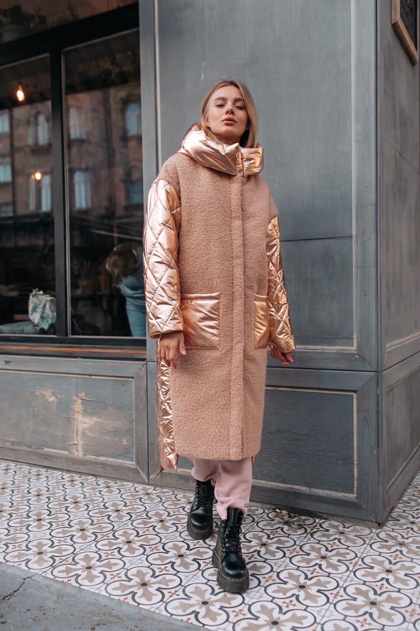 Женское Пальто с шерстью и вставками стеганной металлизированной плащевки 14kur220