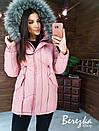 Женская зимняя парка с меховой отделкой и меховой опушкой на капюшоне 66kur222Q, фото 8