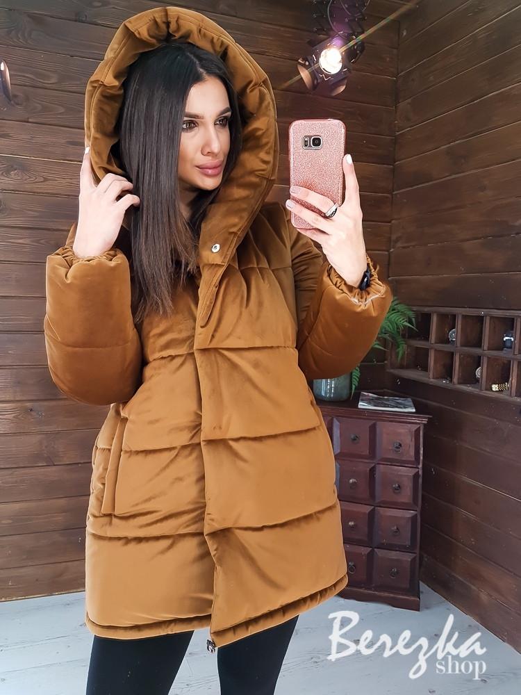 Женская зимняя бархатная куртка зефирка с большим капюшоном 66kur223Q
