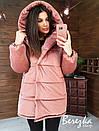 Женская зимняя бархатная куртка зефирка с большим капюшоном 66kur223Q, фото 3