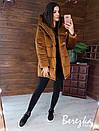 Женская зимняя бархатная куртка зефирка с большим капюшоном 66kur223Q, фото 4