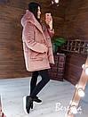 Женская зимняя бархатная куртка зефирка с большим капюшоном 66kur223Q, фото 5