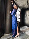 Кружевное длинное платье в пол по фигуре с рукавами из сетки 14plt667, фото 4