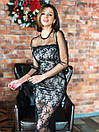 Кружевное длинное платье в пол по фигуре с рукавами из сетки 14plt667, фото 5