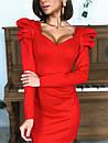 Трикотажное платье с фигурным вырезом и отделкой на плечах 14plt668, фото 2