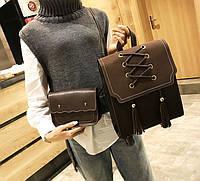 Женский городской рюкзак-сумка + мини сумочка клатч Темно-коричневый