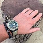 """Браслет мужской из вулканической лавы с лунным камнем """"Лавовый браслет"""", фото 3"""