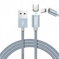 Магнитный кабель Hoco U40A magnetic adsorption charged Type-C 1m Metal Gray