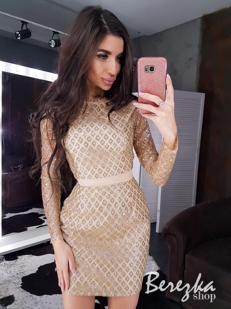 Платье по фигуре из сетки с длинным рукавом и длиной выше колена 66plt669E
