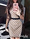 Платье по фигуре из сетки с длинным рукавом и длиной выше колена 66plt669E, фото 4
