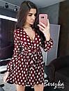 Платье из гофрированной сетки в горошек с верхом на запах и расклешенной юбкой 66plt670E, фото 3