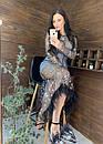 Длинное платье из сетки с блестками и с отделкой из перьев 58plt675, фото 4