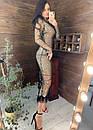 Длинное платье из сетки с блестками и с отделкой из перьев 58plt675, фото 5