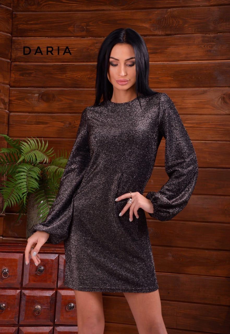 Платье прямое из люрекса с длинным рукавом - фонариком 55plt678