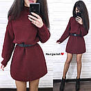 Вязаное свободное платье туника с высоким воротником и длинным рукавом 9plt679, фото 2