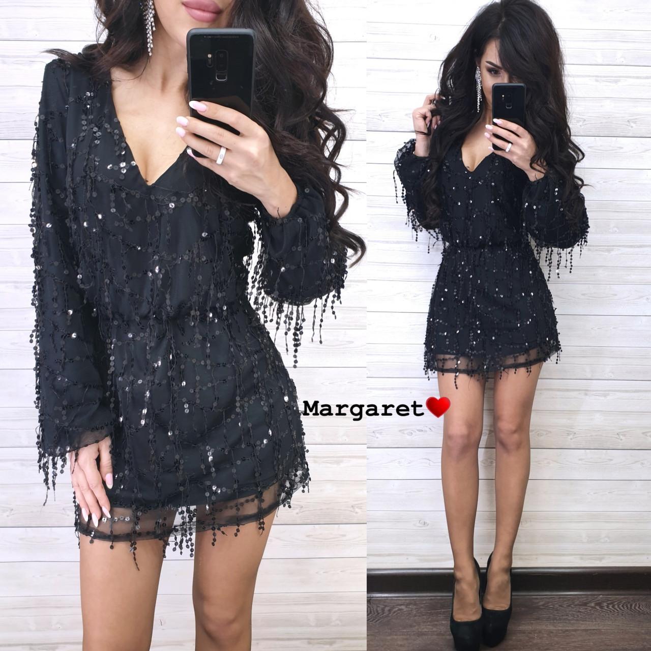 Короткое платье из сетки с пайеткой на подкладе и с длинным рукавом 9plt681