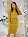 Вязаное платье с кулиской на талии и высоким воротником 7plt683, фото 3
