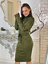 Вязаное платье с кулиской на талии и высоким воротником 7plt683, фото 4