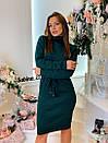 Вязаное платье с кулиской на талии и высоким воротником 7plt683, фото 6