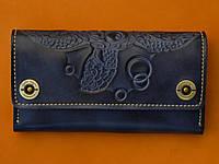 Клатч кожаный, кошелек, женский Gato Negro Alfa Big Turtle Blue ручной работы