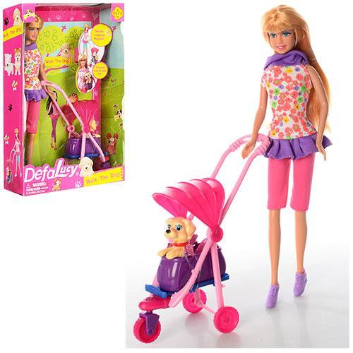 Кукла DEFA 8205 (24шт) 29см, коляска, собачка, в кор-ке, 21,5-31,5-7см