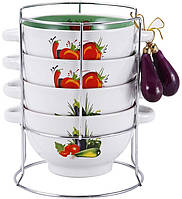 Набор пиал-бульонниц Wellberg Овощи Mix-І 680 мл на подставке psgWB-20704, КОД: 945267